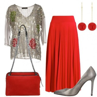Outfit Gonna lunga rossa