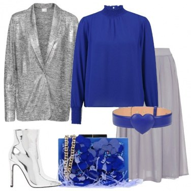 Outfit Giacca grigio mélange metalizzata