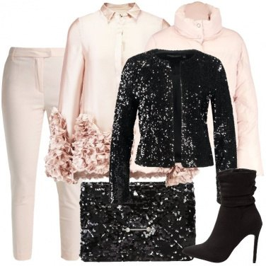 Outfit Petali e paillettes