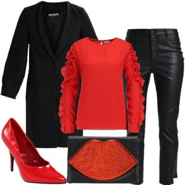 Outfit Rosso e glitter