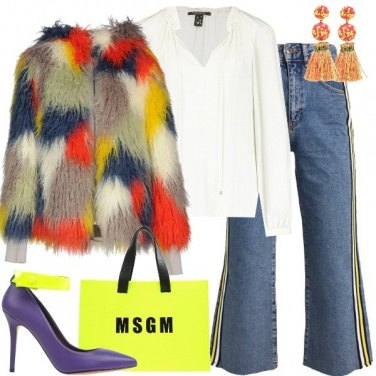 Outfit La pelliccia multicolore
