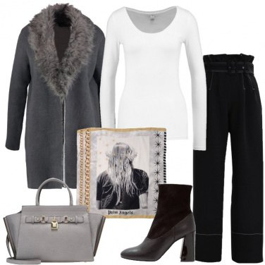 Outfit Grigio nero e bianco
