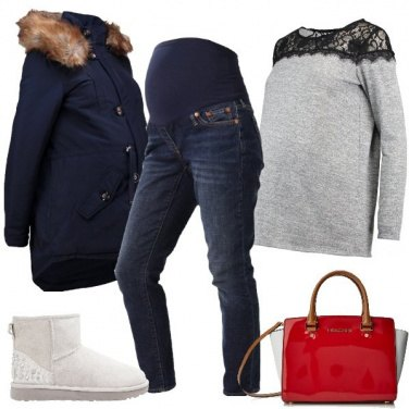 Outfit Parka e jeans in dolce attesa