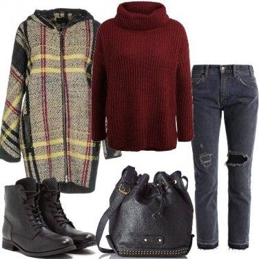 Outfit Cappotto fantasia scozzese
