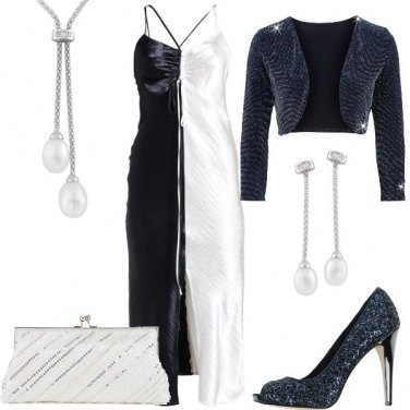 Outfit Glamour in bianco e blu