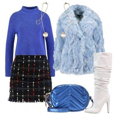Outfit Il pellicciotto celeste