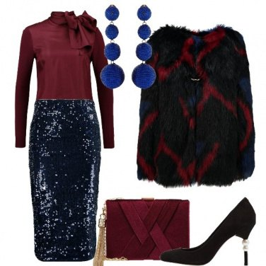 Outfit Elegante in blu e bordeaux