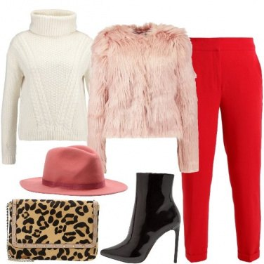 Outfit Rosa rosso e animalier