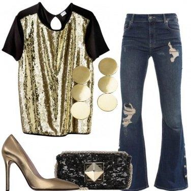 Outfit Jeans e paillettes