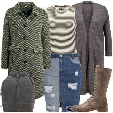 Outfit Il cardigan con la gonna di jeans