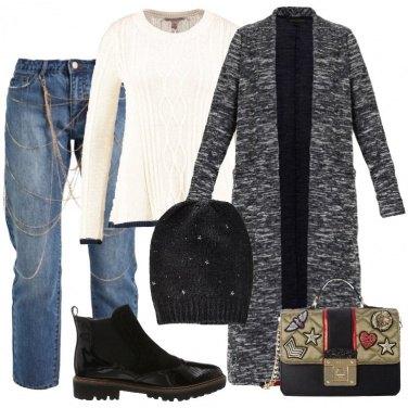 Outfit Il maxi cardigan grigio mélange