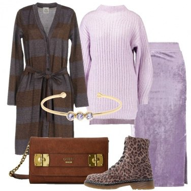Outfit Maxi cardigan a righe