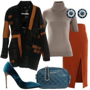 Outfit Cardigan in fantasia lana e cachemire