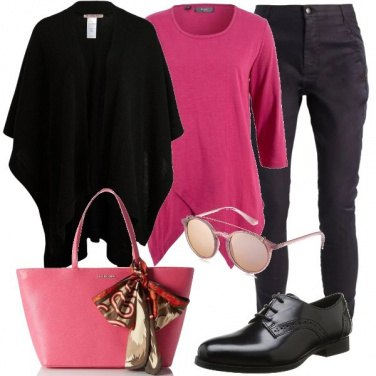 Outfit Sfumature di rosa e nero