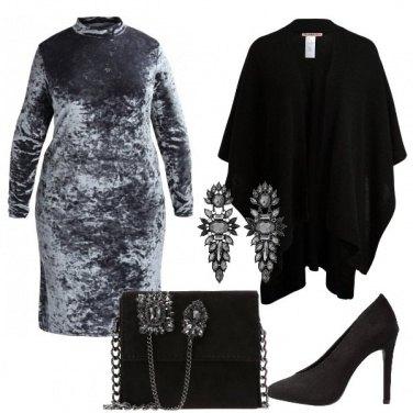 Outfit L\'abito in velluuto grigio
