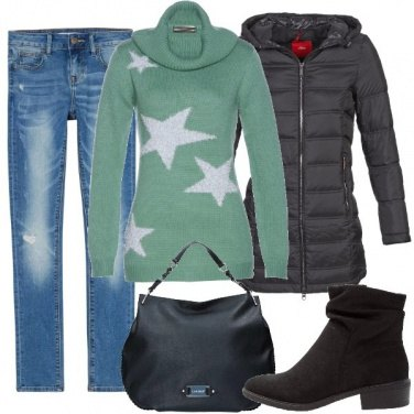 Outfit Maglione verde salvia
