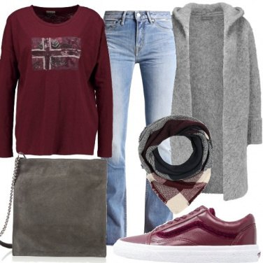 Outfit Cardigan con cappuccio