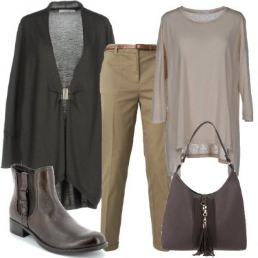 Outfit Il cardigan color piombo