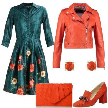 Outfit Chiodo e abito floreale