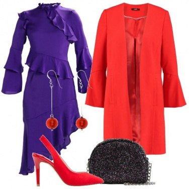 Outfit Ultra Violet e rosso
