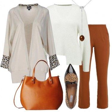 Outfit Avorio e marrone