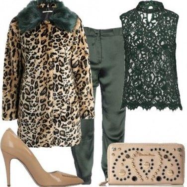 Outfit Animalier e verde petrolio