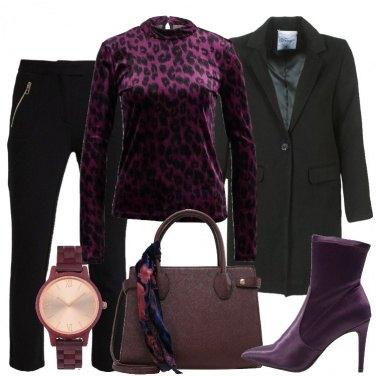 Outfit Nero e viola