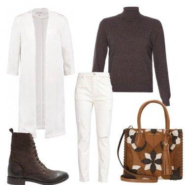Outfit Marrone più bianco