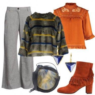 Outfit Frange pizzo e pelliccia