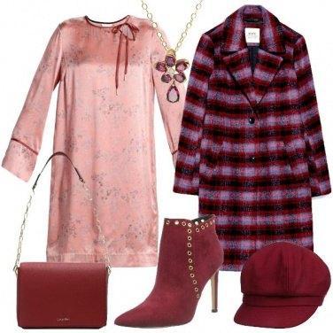 Outfit Cappotto bordeaux a quadri