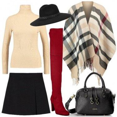 Outfit Stivali rossi e mantella