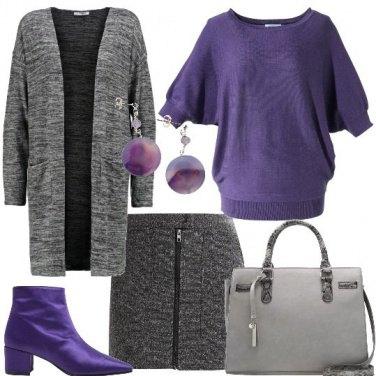 Outfit Viola e mélange