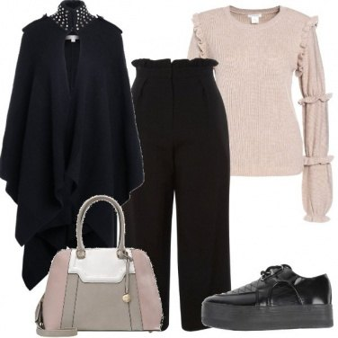 Outfit Rosa antico e beige