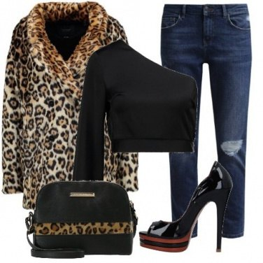 Outfit Ecopelliccia animalier