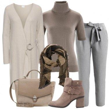 Outfit Soprabito in maglia beige