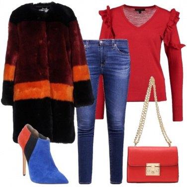 Outfit Ecopelliccia e tronchetto multicolore