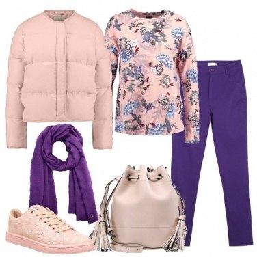 Outfit Viola e rosa