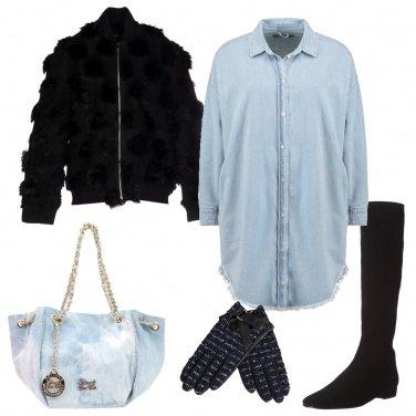 Outfit Abito e borsa denim