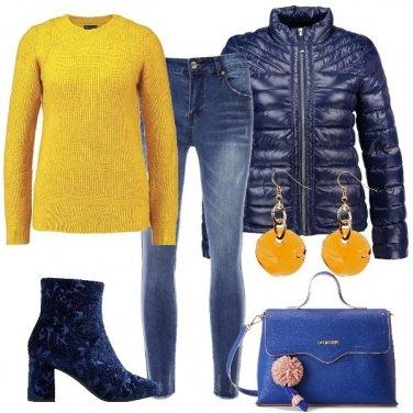 Outfit Giornata in blu e giallo
