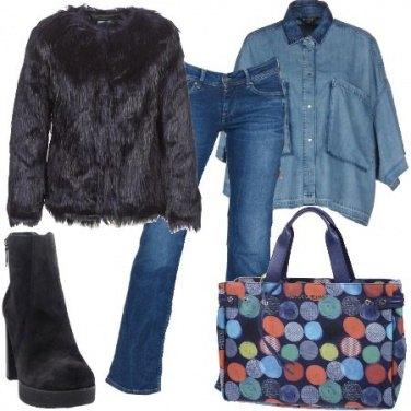 Outfit Ecopelliccia e jeans
