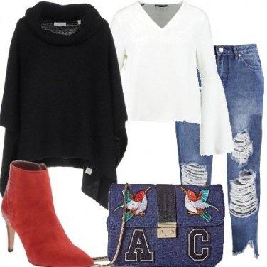 Outfit Stivaletti rossi di giorno