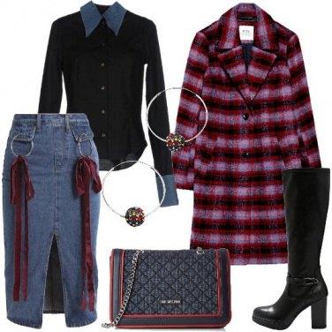 Outfit Quadri e fiocchi sulla gonna in jeans