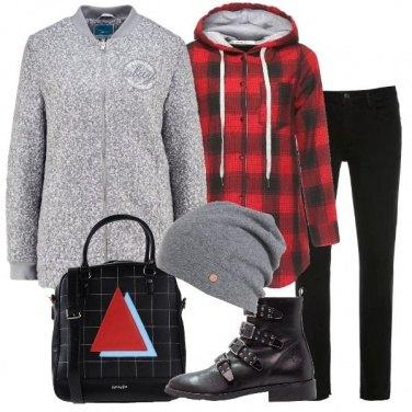 Outfit Un berretto grigio mélange