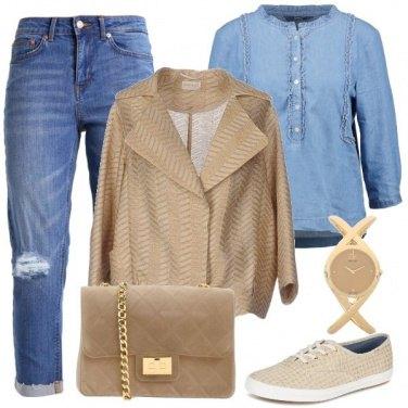Outfit Denim e beige