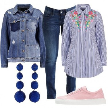 Outfit Denim e righe