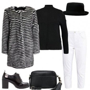 Outfit Pelliccia a righe