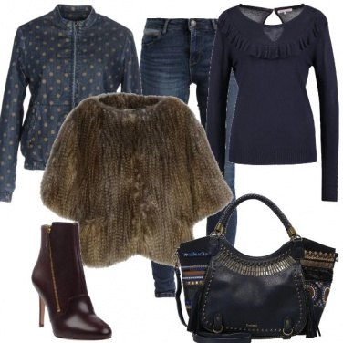 Outfit Denim e pelliccia ecologica