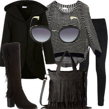 Outfit Stivali e borsa con frange