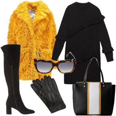 Outfit Ecopelliccia gialla