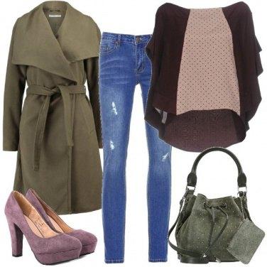 Outfit Viola e verde